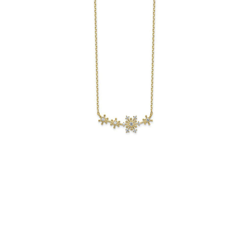 Snowflakes Necklace (14K) front - Popular Jewelry - New York