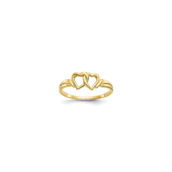 Interlocking Heart Ring (14K) diagonal - Popular Jewelry - New York