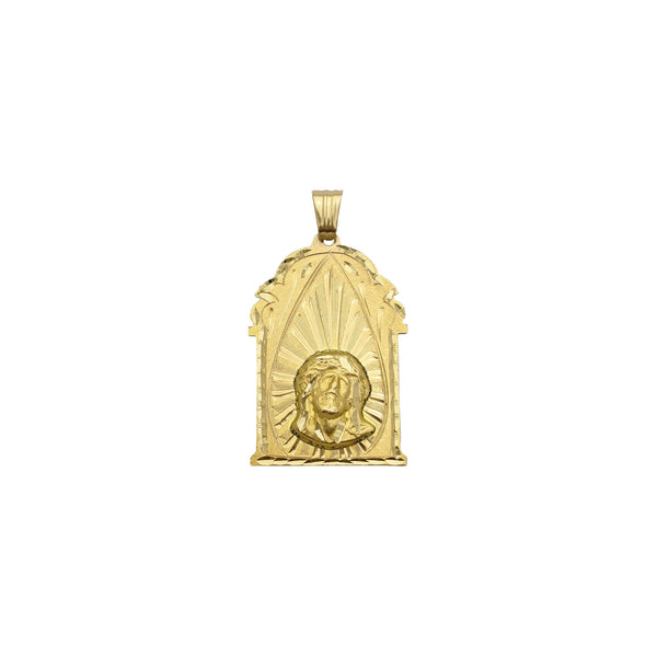 Jesus Head Shrined Pendant (14K) front - Popular Jewelry - New York