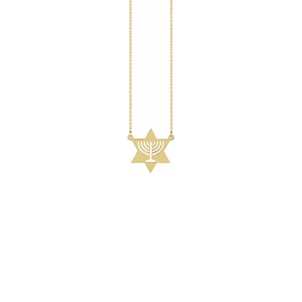 Menorah Star Necklace yellow (14K) front - Popular Jewelry - New York