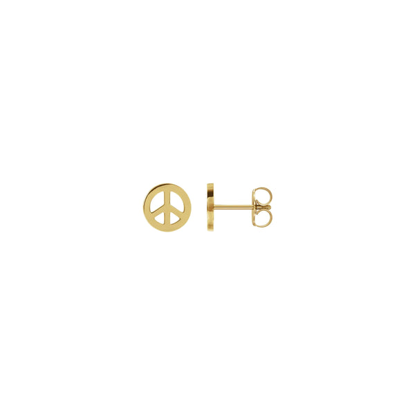Peace Symbol Stud Earrings yellow (14K) main - Popular Jewelry - New York