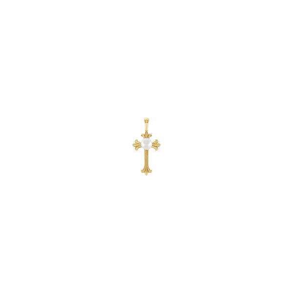 Pearl Patonce Cross Pendant yellow (14K) front - Popular Jewelry - New York