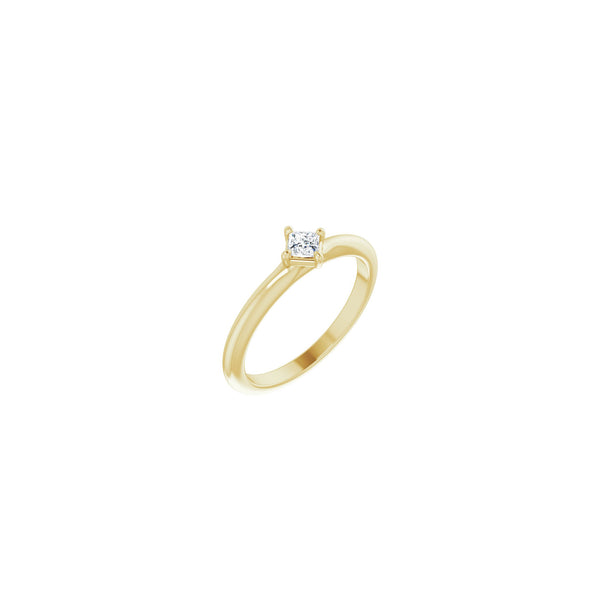 Princess Cut Diamond Stackable Solitaire Ring yellow (14K) main - Popular Jewelry - New York
