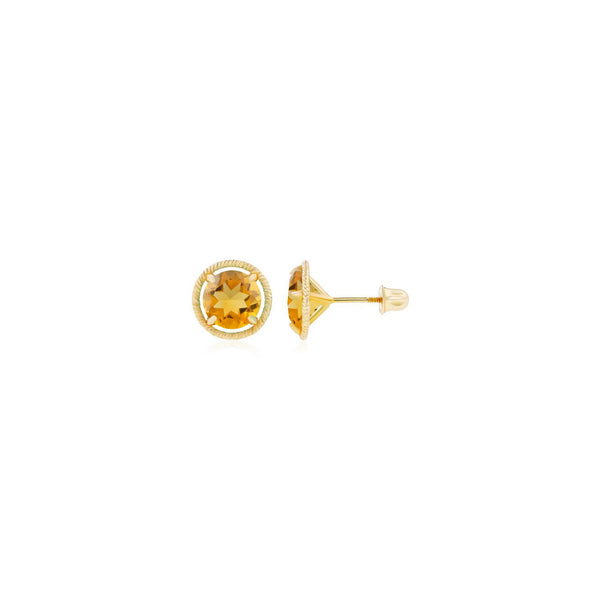 Rope Framed Faux-Citrine Martini Stud Earrings yellow (14K) main - Popular Jewelry - New York