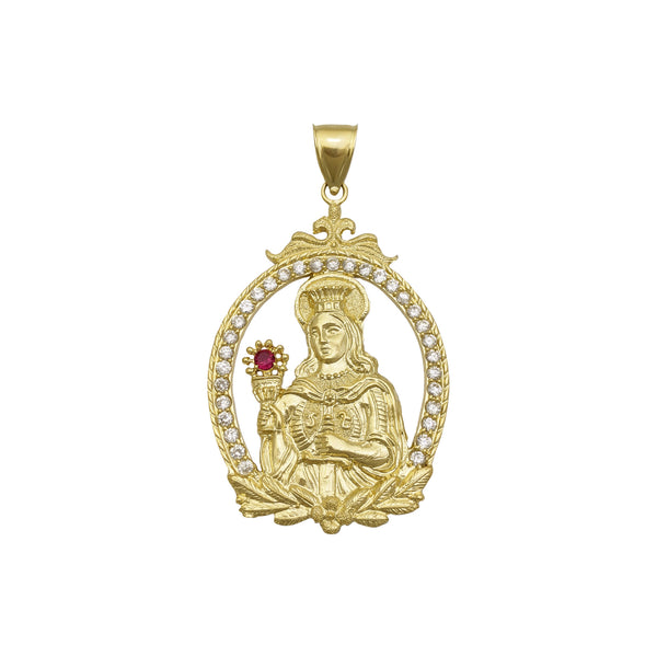 Saint Barbara Framed Pendant (14K) front - Popular Jewelry - New York