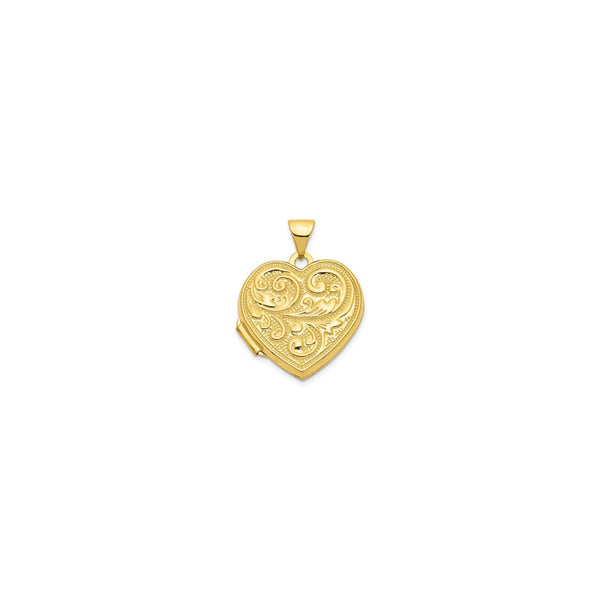 Scrolled Heart Locket Pendant (14K) front - Popular Jewelry - New York