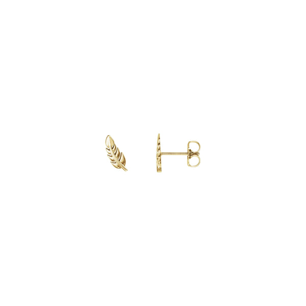 Wheat Leaf Stud Earrings yellow (14K) main - Popular Jewelry - New York