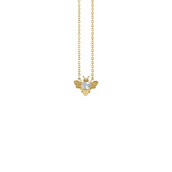 White Sapphire Bee Gemstone Charm Necklace yellow (14K) front - Popular Jewelry - New York