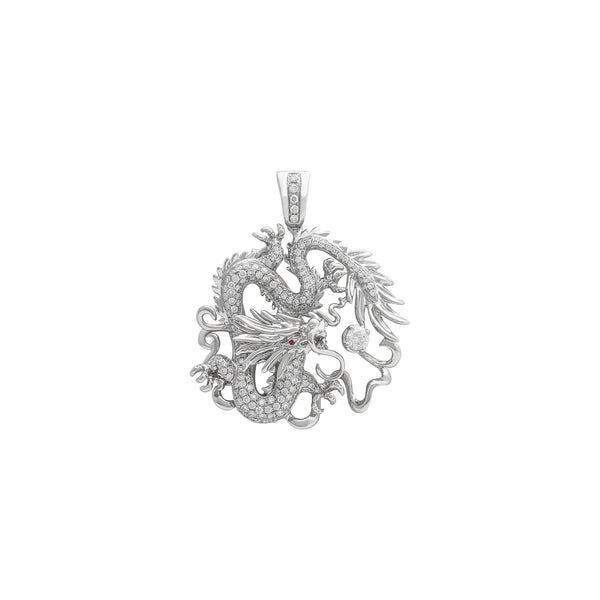 Diamond Flying Dragon Orbs Pendant (18K) ön - Popular Jewelry - Nyu-York