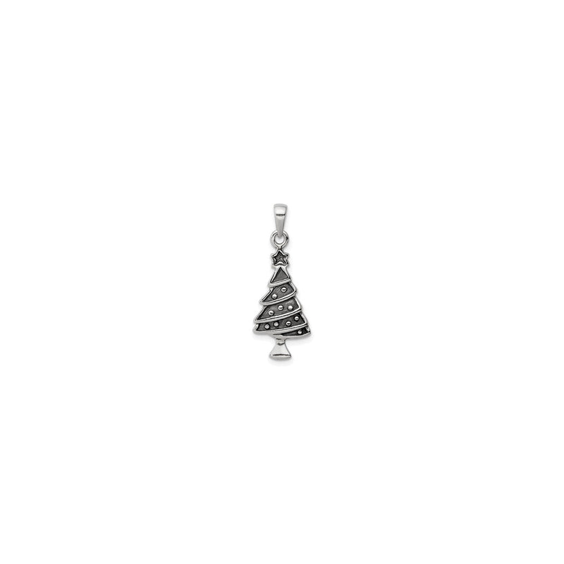 Antique-Finish Christmas Tree Pendant (Silver) front - Popular Jewelry - New York