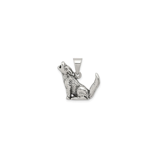 Antique-Finish Howling Wolf Pendant (Silver) front - Popular Jewelry - New York