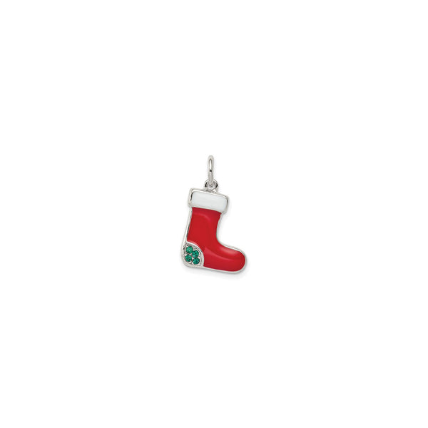 Christmas Stocking Pendant (Silver) front - Popular Jewelry - New York