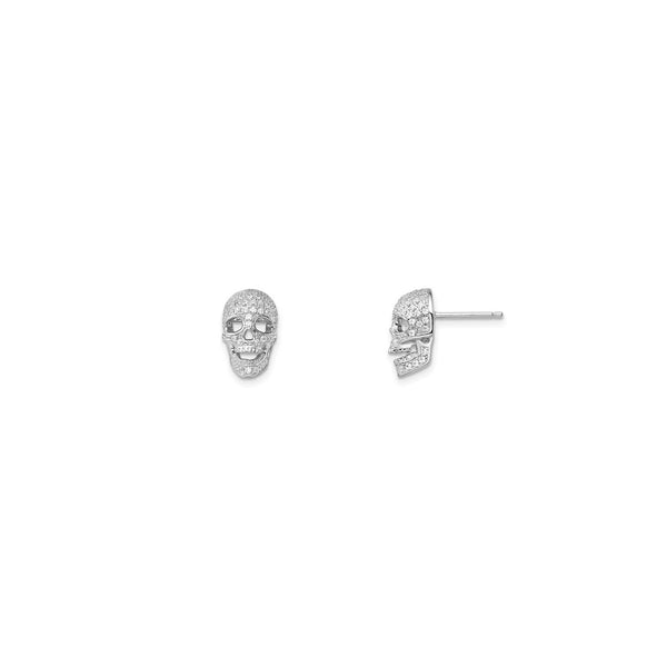 Iced-Out Skull Stud Earrings (Silver) main - Popular Jewelry - New York