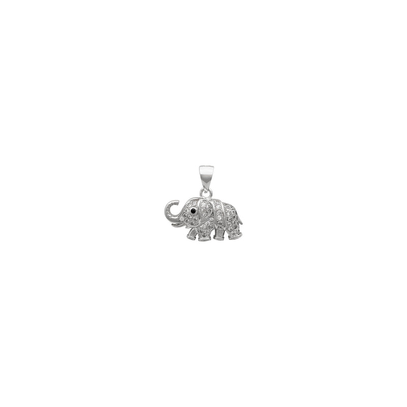Icy Elephant Pendant (Silver) front - Popular Jewelry New York