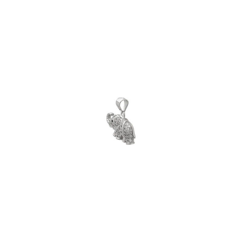 Icy Elephant Pendant (Silver) side 2 - Popular Jewelry New York