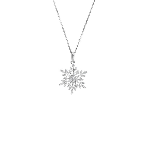 Icy Snowflake Necklace (Silver) front - Popular Jewelry - New York