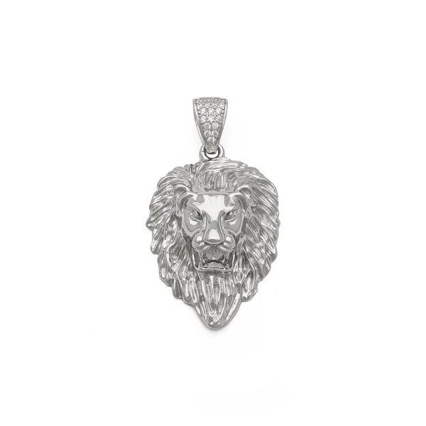 Lion Head Pendant (Silver) front - Popular Jewelry New York