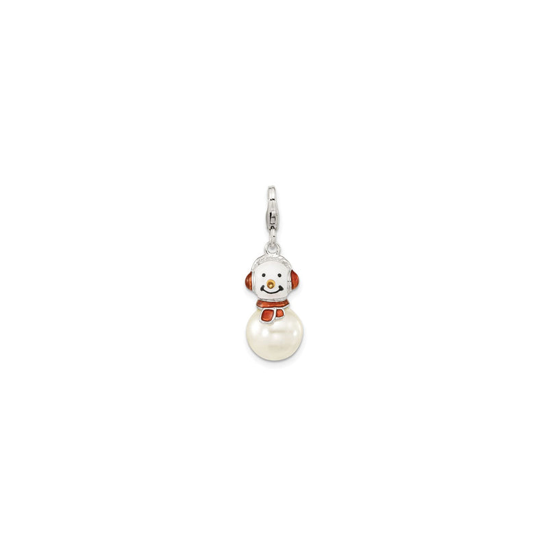 Pearly Snowman Charm (Silver) front - Popular Jewelry - New York