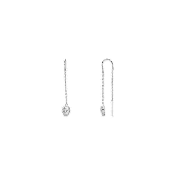 Skull Head Threader Earrings (Silver) main - Popular Jewelry - New York