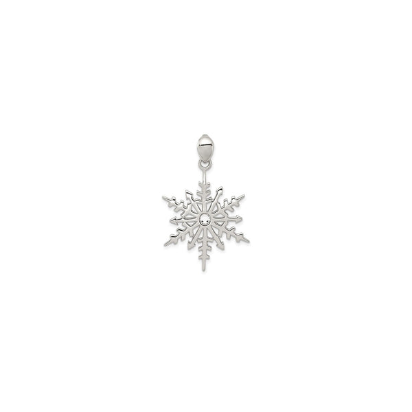 Snowflake with Stellux Crystal Pendant (Silver) front - Popular Jewelry - New York
