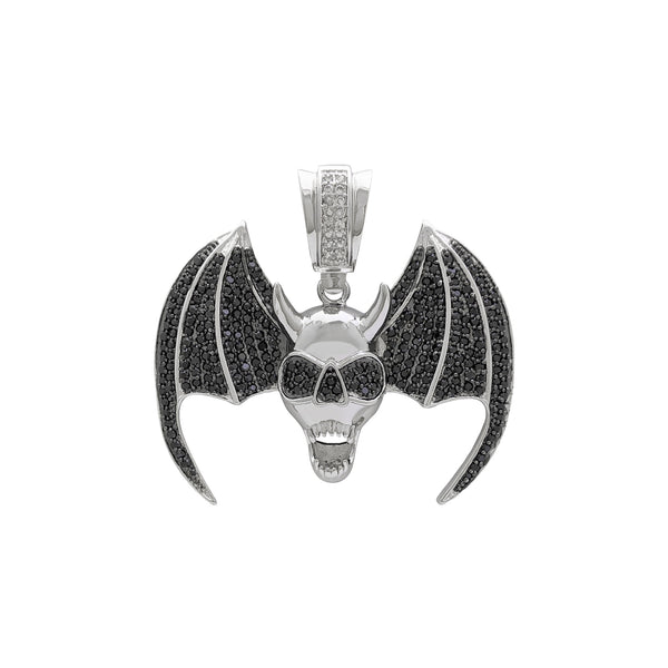 Winged Demon Skull Pendant (Silver) front - Popular Jewelry - New York