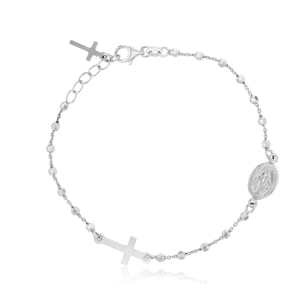Virgin Mary Rosary Bracelet (Silver) Popular Jewelry New York