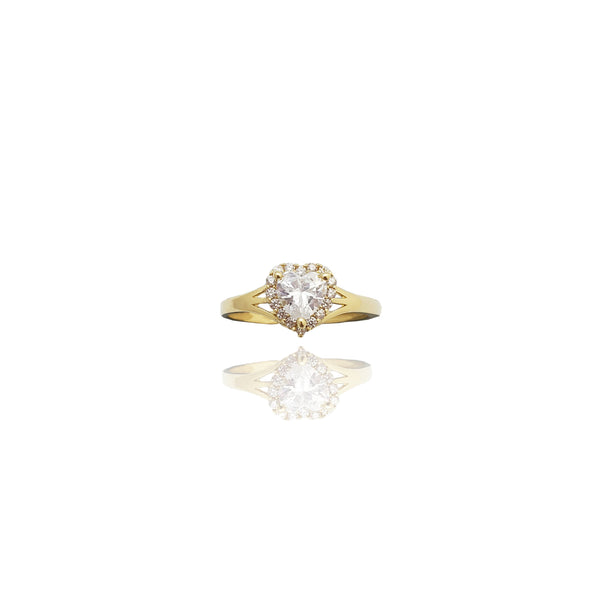 Yellow Gold Cubic Zirconia Cluster Heart Ring (14K)