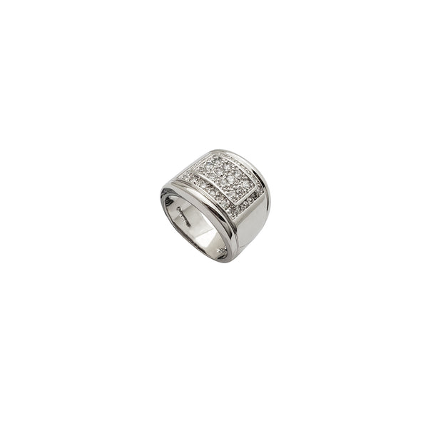 Walled TV CZ Ring (Silver)