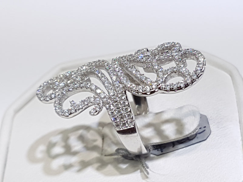 Colliding Current Pave Cocktail Ring Silver - Popular Jewelry