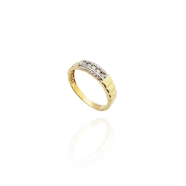 CZ Pleated Band (14K)