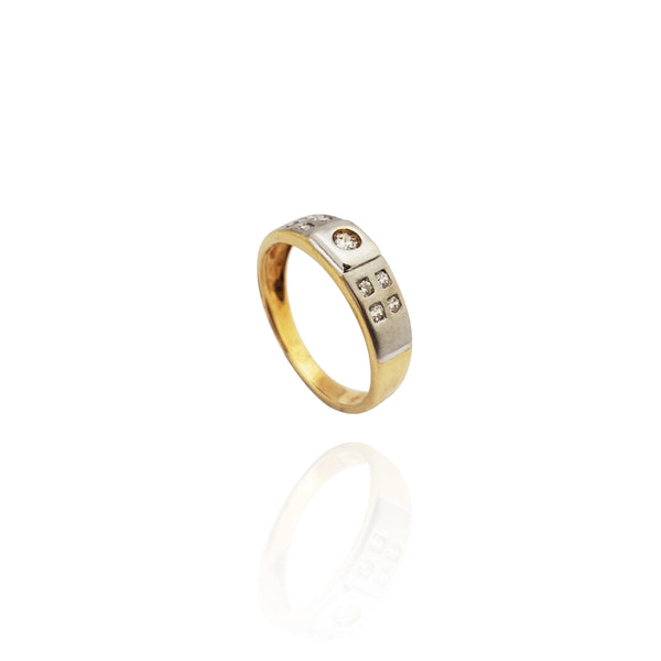 Two-Tone Gypsy Accent CZ  Band(14K)