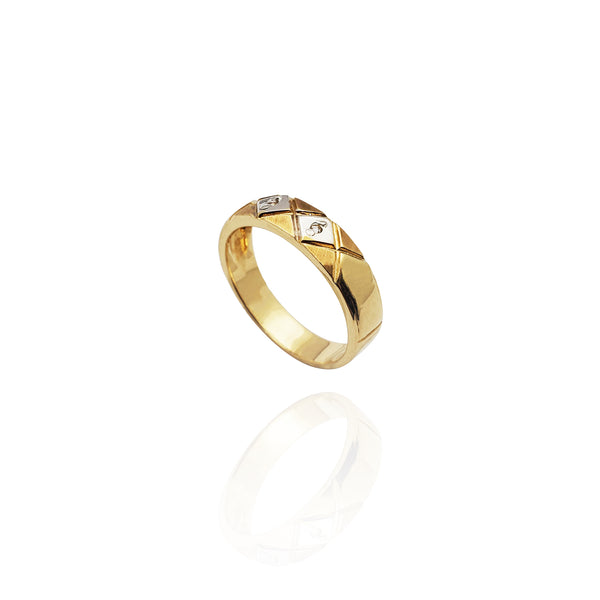 Two-Tone Cross-Hatched CZ Band (14K)