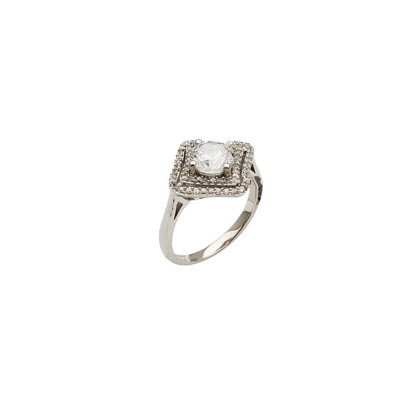Wedding Ring Rhombus Base CZ (Silver)