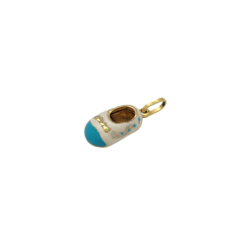 White-Blue Baby Shoes Pendant (14K) Popular Jewelry New York