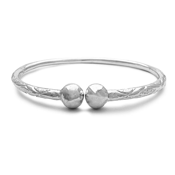XIIIO Textured Beads Adjustable Bangle Bracelet (Silver) Popular Jewelry New York