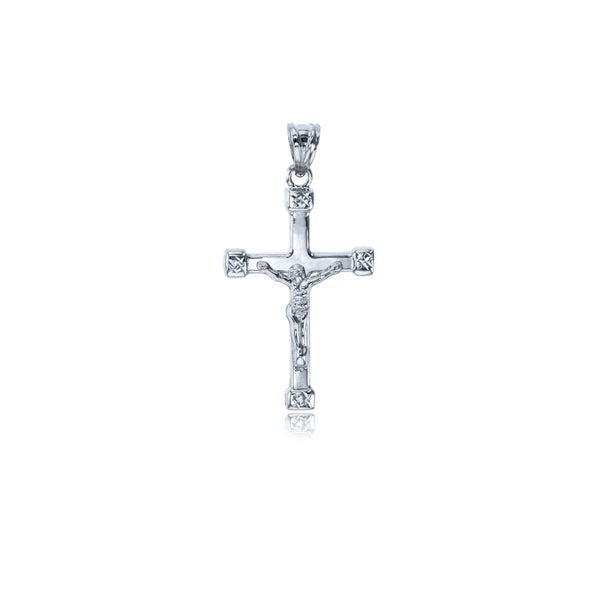 White Gold Polished Crucifix Cross Pendant (14K)