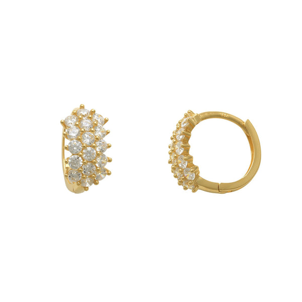 Zirconia Cluster Huggie Earrings (14K)