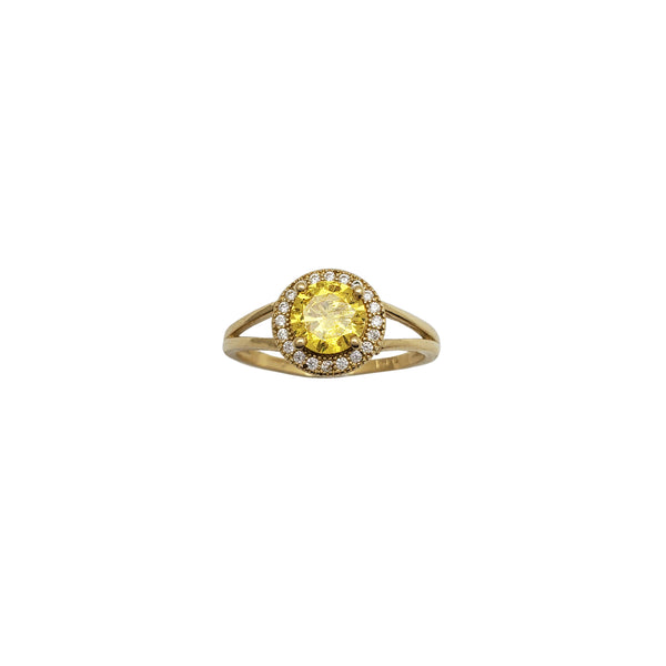 Round Yellow CZ Solitaire Ring (14K)