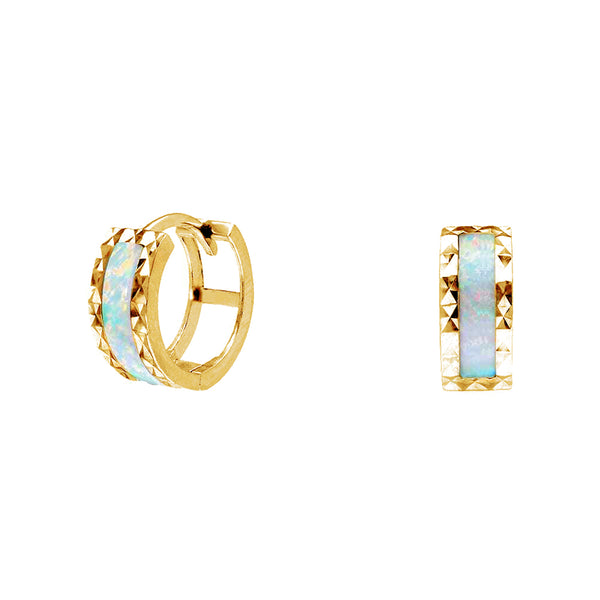 Yellow Gold Faceted-Cuts Opal Huggie Earrings (14K) Popular Jewelry New York