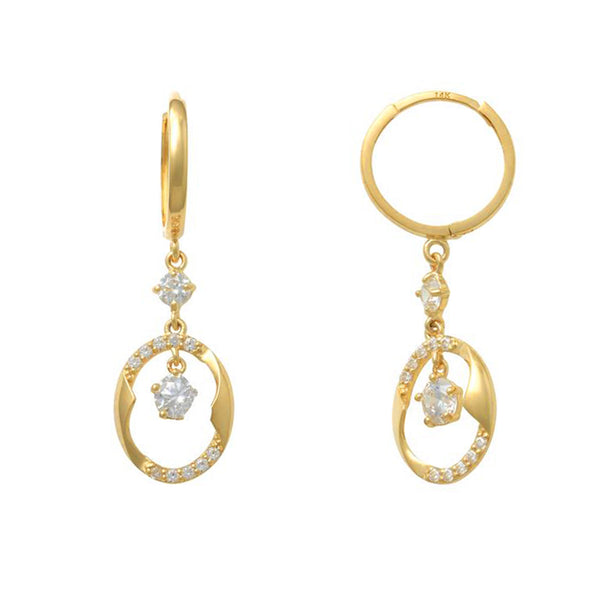 Yellow Gold Hanging Nest CZ Huggie Earring (14K) Popular Jewelry New York