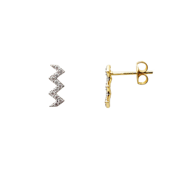 Zig Zag Stone-Set Stud Earrings (14K) Popular Jewelry New York