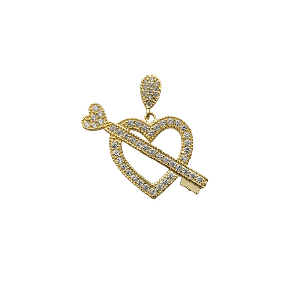 Zirconia Heart & Key Pendant (14K) Popular Jewelry New York