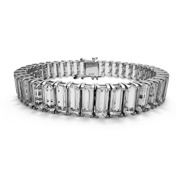 Zirconia Baguettes Tennis Bracelet (Silver) Popular Jewelry New York