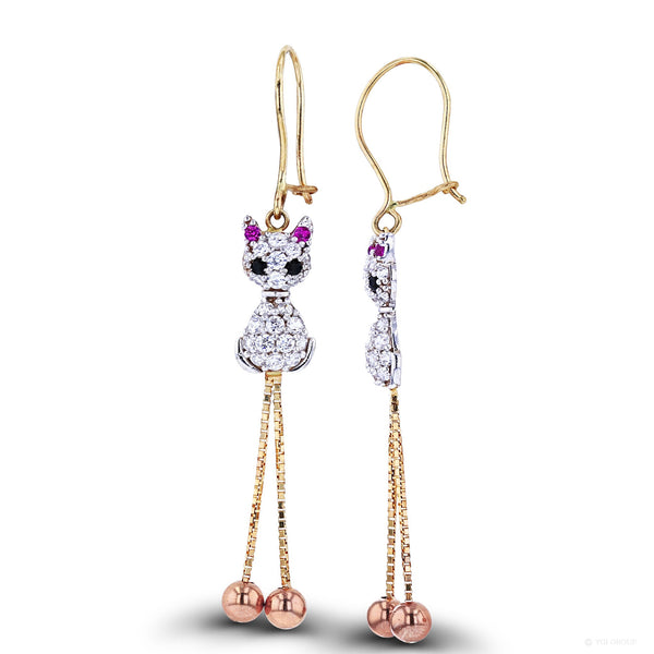 Zirconia Cat Dangling Earrings (14K) Popular Jewelry New York