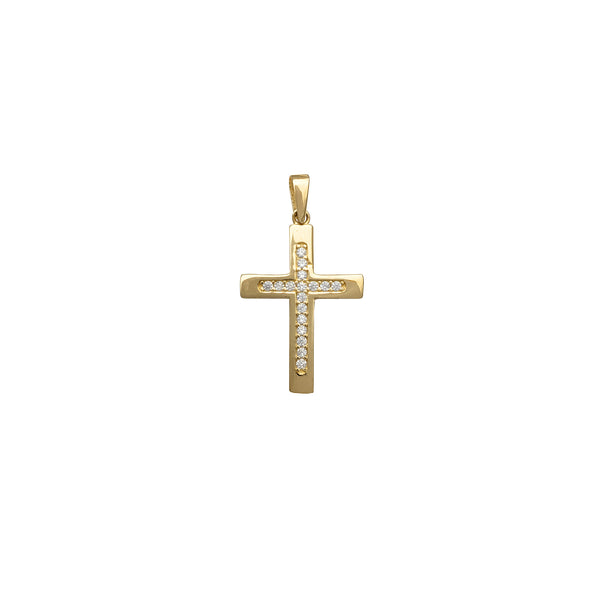 Zirconia Channel Setting Cross Pendant (14K) Popular Jewelry New York