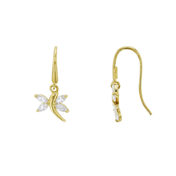 Zirconia Dragonfly Hanging Earrings (14K)