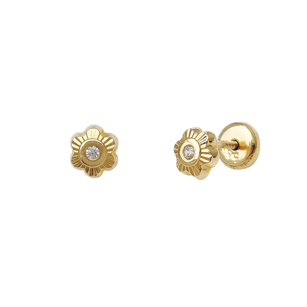 Zirconia Flower Stud Earrings (14K)