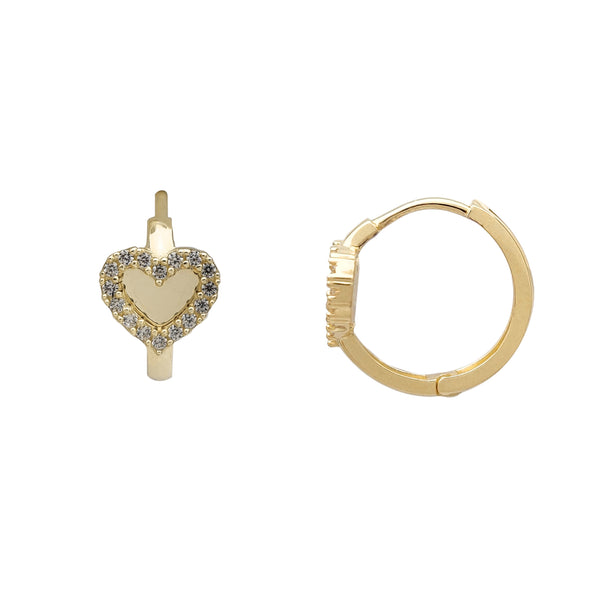 Zirconia Heart Huggie Earrings (14K)