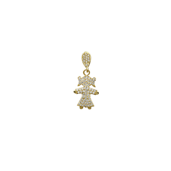 Zirconia Little Girl Pendant (14K) Popular Jewelry New York