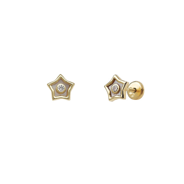 Zirconia Opal Star Stud Earrings (14K)